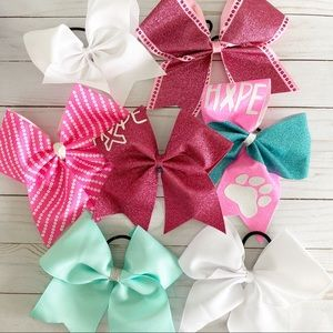 Pink and Aqua Cheer Bow Lot of 7 Breast Cancer